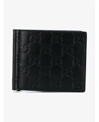 Gucci Logo Embossed Leather Wallet Black