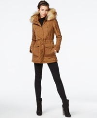 Bar Iii Faux Fur Trim Quilted Anorak