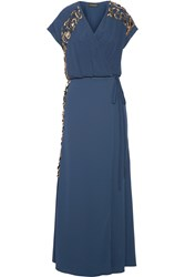 By Malene Birger Wynona Embellished Crepe Wrap Maxi Dress Storm Blue