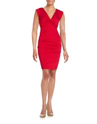 Nicole Miller V Neck Sheath Dress Red
