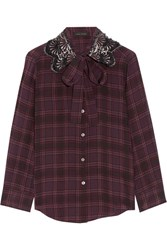 Marc Jacobs Pussy Bow Embellished Checked Silk Blouse Plum