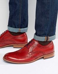 Dune Radcliffe Leather Derby Brogue Shoes Red
