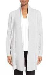 Women's Nordstrom Collection Ribbed Wool And Cashmere Cardigan Grey Clay Heather