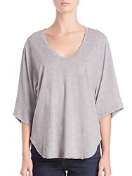 Helmut Lang Wide Sleeve Cotton And Cashmere Scoopneck Tee Grey