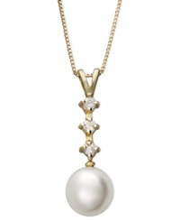 Belle De Mer Cultured Freshwater Pearl 8Mm And Diamond 1 8 Ct. T.W. Three Stone Pendant In 14K Gold