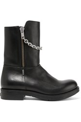 Karl Lagerfeld Chain Trimmed Leather Boots Black