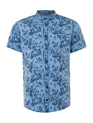 Blend Of America Print Slim Fit Short Sleeve Button Down Shirt Blue