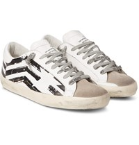 Golden Goose Superstar Distressed Leather And Suede Sneakers Off White