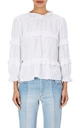 Etoile Isabel Marant Women's Daniela Embroidered Linen Peasant Top White