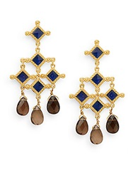 Stephanie Kantis London Blue Crystal And Smoky Topaz Briolette Venetian Chandelier Earrings