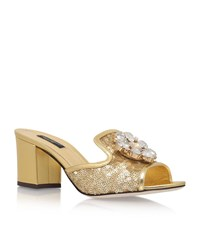 Dolce And Gabbana Bianca Sequin Jewel Mules 60 Female Gold