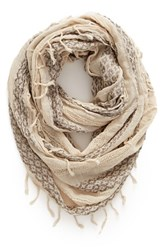 Women's Bp. Geo Embroidery Infinity Scarf Ivory