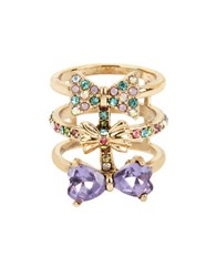 Betsey Johnson Triple Bow Multi Row Ring Gold