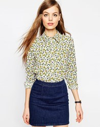 Asos Long Sleeve Ditsy Floral Cotton Shirt Multi