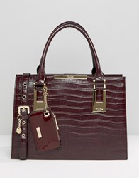 Dune Structured Tote Bag With Metal Bar Detail Berry