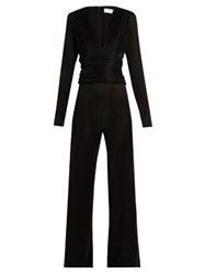 Galvan V Neck Pleated Jumpsuit Black
