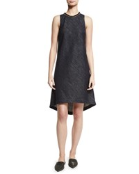 Brunello Cucinelli Sleeveless Chambray High Low Shift Dress Dark Blue