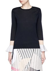 Toga Archives Colourblock Mesh Bell Sleeve Floating Sweater Black
