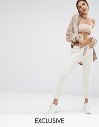 Jaded London X Granted Sweat Pants With Lace Up Front Champagne Cream