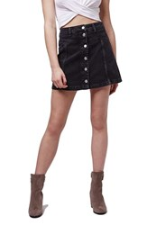 Topshop Women's Button Front Denim Skirt