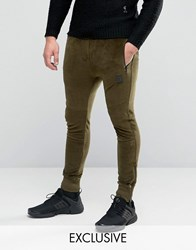 Religion Velour Joggers Khaki Green