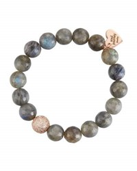 Soul Journey Labradorite Beaded Stretch Bracelet Gray