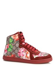Gucci Marine Floral Print Canvas And Suede Sneakers