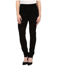 Nydj Petite Petite Joanie Skinny Pull On Leggings Black Primrose Flocking Women's Casual Pants