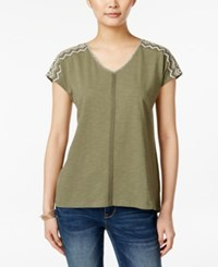 Styleandco. Style And Co. V Neck Short Sleeve Top Only At Macy's Chevron Olive