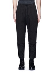 The Viridi Anne Poplin Cuff Pleated Twill Pants Black
