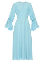 Roksanda Ilincic Ophelia Bell Sleeved Silk Dress Light Blue