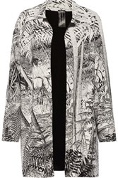 Norma Kamali Reversible Printed Stretch Jersey Coat Off White