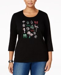 Karen Scott Plus Size Holiday Flip Flop Graphic Top Only At Macy's Deep Black