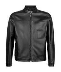 Pal Zileri Leather Blouson Zip Jacket Black