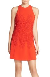 Greylin Women's Lace Applique Fit And Flare Dress Red