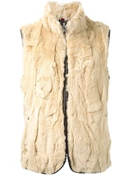 Loveless Rabbit Fur Zipped Gilet Brown