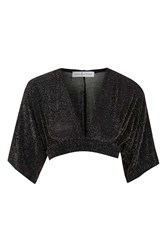 Rare Lurex Cape Sleeve Crop Top By Black