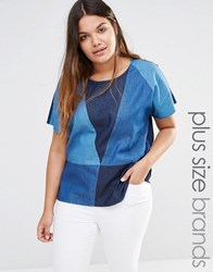 Junarose Patched Denim Woven Top Blue