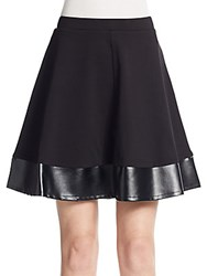 Saks Fifth Avenue Black Ponte And Faux Leather A Line Skirt Black