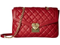 Love Moschino Quilted Shoulder Bag With Chain Red Shoulder Handbags