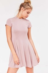 Silence And Noise Violetta Cupro Mock Neck Mini Dress Neutral