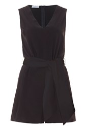 Wolf And Whistle Black Tie Waist Playsuit