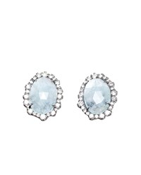Kimberly Mcdonald Aquamarine And Diamond Stud Earrings Blue Aquamarine White Gold Black