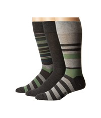 Cole Haan Town Stripe Crew 3 Pack Graphite Heather Grey Heather Graphite Heather Men's Crew Cut Socks Shoes Multi
