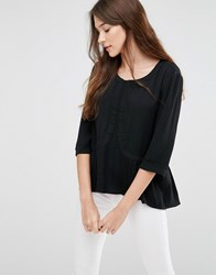 See U Soon Blouse With Pleated Hem Black