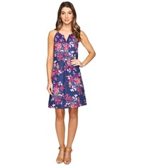 Tommy Bahama Floria Florals Linen Shift Dress Bering Blue Women's Dress