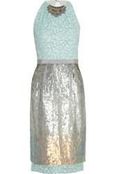Matthew Williamson Sequined Organza Dress Green