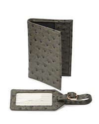 Neiman Marcus Boxed Set Ostrich Embossed Passport Holder And Luggage Tag Set Gray