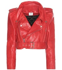 Vetements Cropped Leather Jacket Red