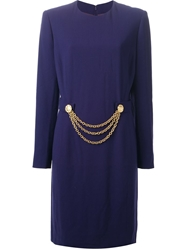 Celine Vintage Chain Detailed Dress Pink And Purple